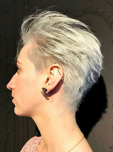Silver hair color and cut by Cizors